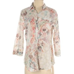 CHICOS SIZE 1 [Med] 3/4 Sleeve Blouse